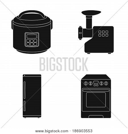 Multivarka, refrigerator, meat grinder, gas stove.Household set collection icons in black style vector symbol stock illustration .