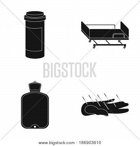 Heating pad, hospital gurney, acupuncture.Mtdicine set collection icons in black style vector symbol stock illustration .