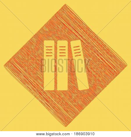 Row of binders, office folders icon. Vector. Red scribble icon obtained as a result of subtraction rhomb and path. Royal yellow background.