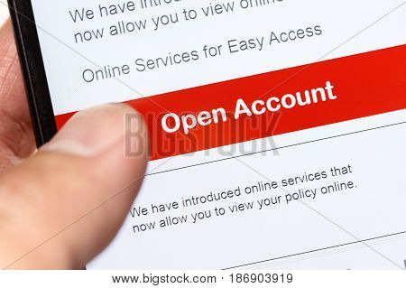 open account on a cellphone online business concept