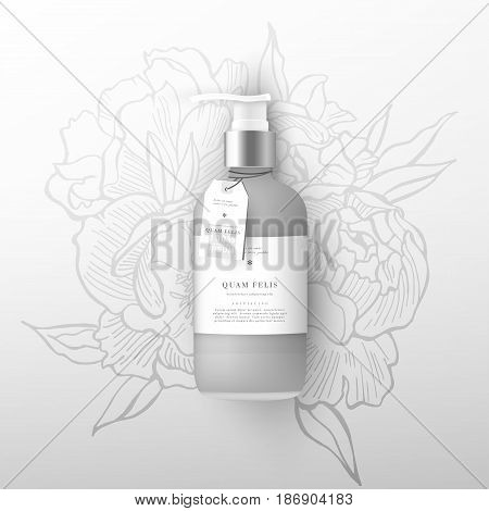 Realistic beige bottle of liquid soap in white background. Cosmetic bottle for a cream, shampoo, oil, gel. Mock up. Batcher. Cosmetic products. Flowers peonies background