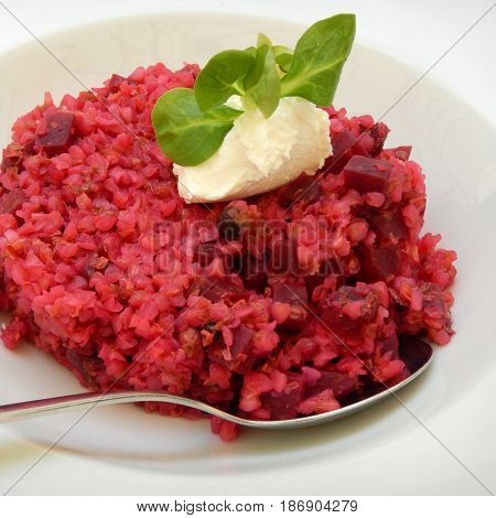 Buckwheat Risotto With Beetroot And Ricotta