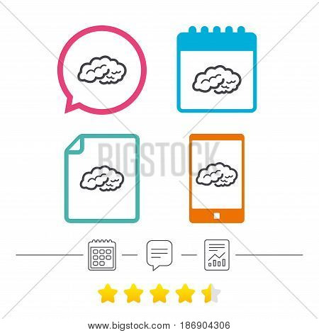 Brain sign icon. Human intelligent smart mind. Calendar, chat speech bubble and report linear icons. Star vote ranking. Vector