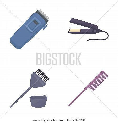 Trim, hair coloring, comb, straightener. Hairdresser set collection icons in cartoon style vector symbol stock illustration .