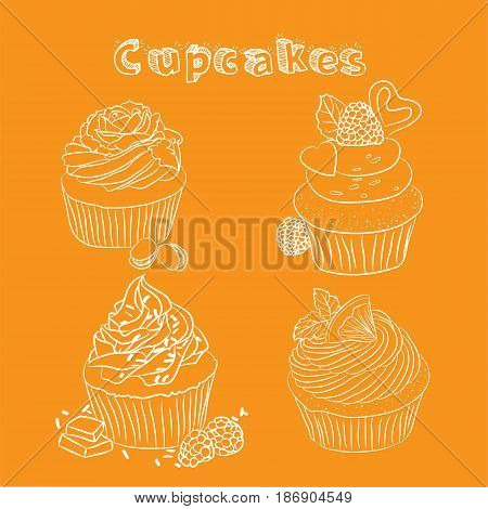 Vector scetch with orange background with format eps10