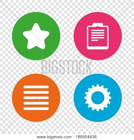 Star favorite and menu list icons. Checklist and cogwheel gear sign symbols. Round buttons on transparent background. Vector