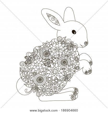 Anti stress abstract rabbit hand drawn monochrome vector illustration