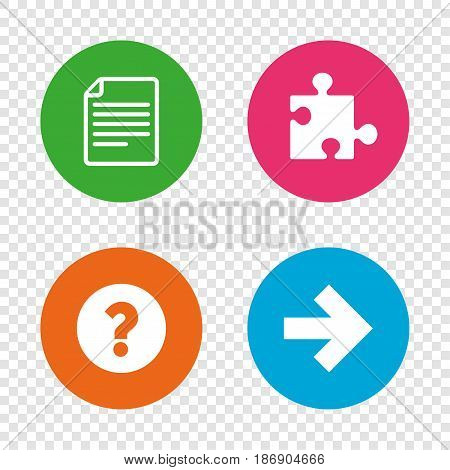 Question mark and puzzle piece icons. Document file and next arrow sign symbols. Round buttons on transparent background. Vector