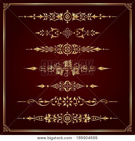 Luxury ornamental page dividers in gold - vector set