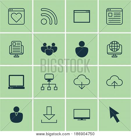 Set Of 16 Internet Icons. Includes PC, Program, Website Page And Other Symbols. Beautiful Design Elements.