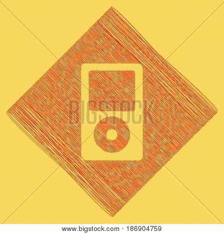 Portable music device. Vector. Red scribble icon obtained as a result of subtraction rhomb and path. Royal yellow background.