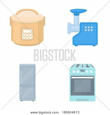 Multivarka, refrigerator, meat grinder, gas stove.Household set collection icons in cartoon style vector symbol stock illustration .