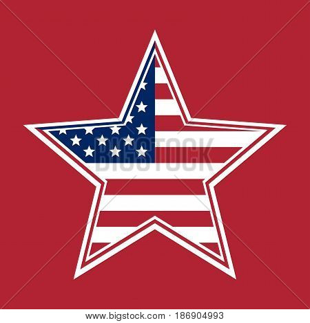 US Flag in the shape of a star. Flag of the United States of America on a red background. The Stars and Stripes. Red white and blue flag. Star with the US flag inside. Vector illustration