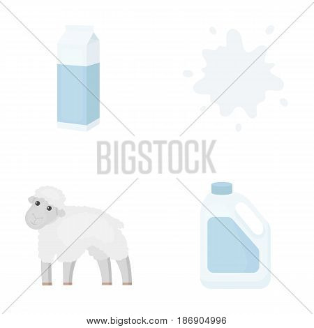 Billet pack, sheep.blue, canister.Moloko set collection icons in cartoon style vector symbol stock illustration .