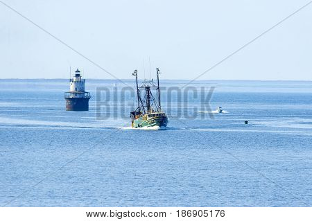New Bedford Massachusetts USA - May 17 2017: Fishing boat
