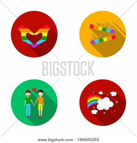 Hand with heart, flag, men.Gayset collection icons in flat style vector symbol stock illustration .