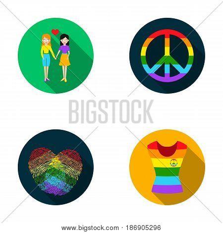 Lesbians, fingerprints, sign, dress.Gayset collection icons in flat style vector symbol stock illustration .