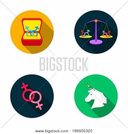 Rings, balance, feminism, unicorn.Gayset collection icons in flat style vector symbol stock illustration .