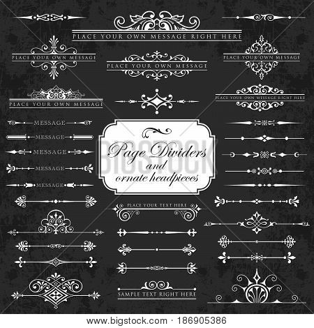 Page dividers and ornate headpieces on a chalkboard background