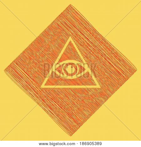 All seeing eye pyramid symbol. Freemason and spiritual. Vector. Red scribble icon obtained as a result of subtraction rhomb and path. Royal yellow background.