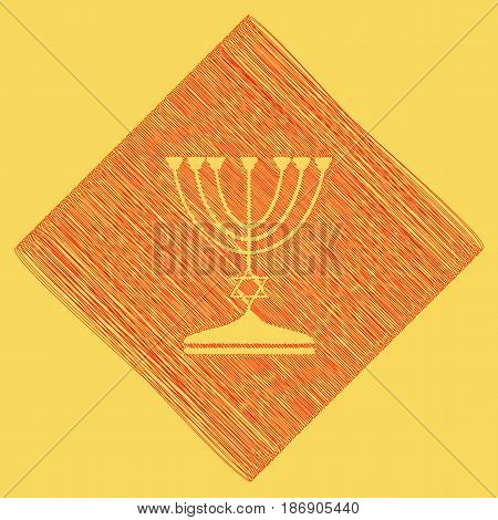 Jewish Menorah candlestick in black silhouette. Vector. Red scribble icon obtained as a result of subtraction rhomb and path. Royal yellow background.
