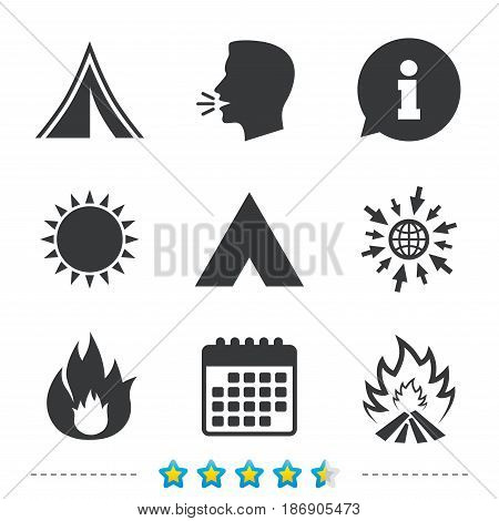 Tourist camping tent icons. Fire flame sign symbols. Information, go to web and calendar icons. Sun and loud speak symbol. Vector