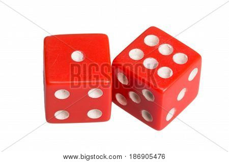 Two dice showing one and six, on white background.