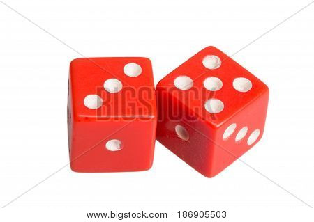 Two dice showing three and five, on white background.