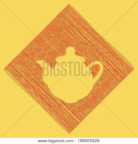 Tea maker sign. Vector. Red scribble icon obtained as a result of subtraction rhomb and path. Royal yellow background.