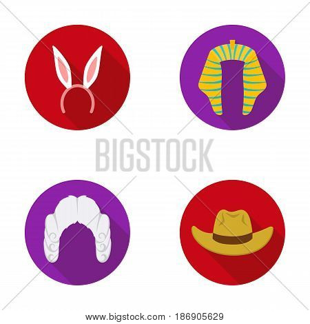 Rabbit ears, judge wig, cowboy. Hats set collection icons in flat style vector symbol stock illustration .