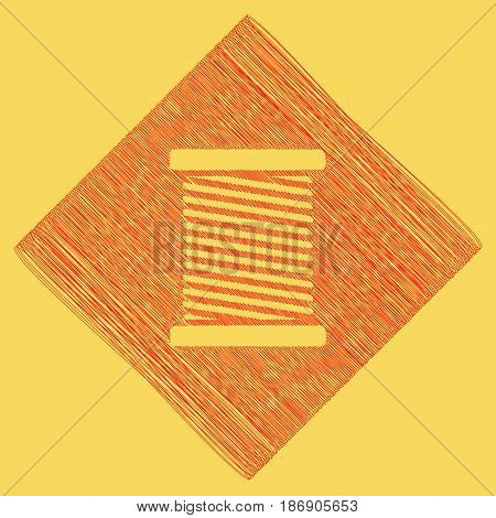 Thread sign illustration. Vector. Red scribble icon obtained as a result of subtraction rhomb and path. Royal yellow background.
