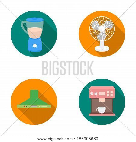 Blender, extractor and other equipment.Household set collection icons in flat style vector symbol stock illustration .