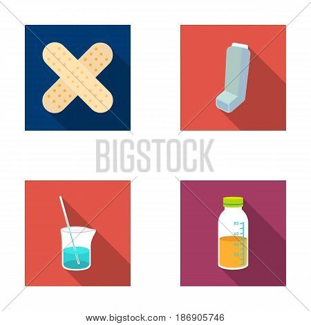 Plaster, inhaler, solution in a glass.Mtdicine set collection icons in flat style vector symbol stock illustration .