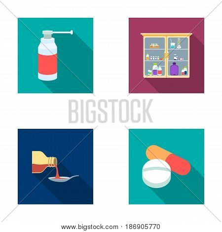 Inhaler, medical cabinet, tablets, syrup in a spoon.Mtdicine set collection icons in flat style vector symbol stock illustration .