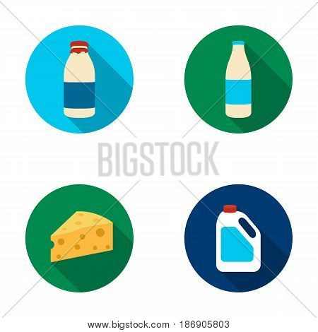 A bottle of kefir, a can, a piece of cheese. Moloko set collection icons in flat style vector symbol stock illustration .