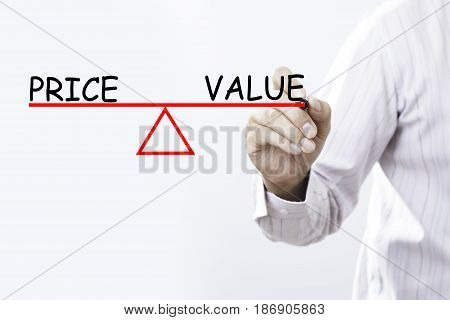 Businessman hand drawing Price and Value balance - Business concept.