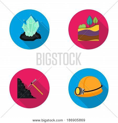 Crystals, coal seam, pickaxe, helmet with a lantern.Mine set collection icons in flat style vector symbol stock illustration .