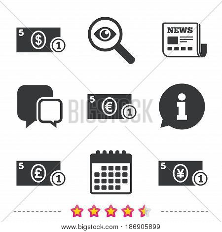 Businessman case icons. Dollar, yen, euro and pound currency sign symbols. Newspaper, information and calendar icons. Investigate magnifier, chat symbol. Vector