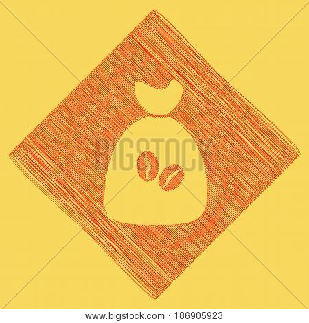 Coffee bag Icon. Coffee bag. Vector. Coffee bag Icon Button. Vector. Red scribble icon obtained as a result of subtraction rhomb and path. Royal yellow background.