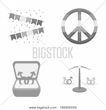 Flags, rainbow, emblem, rings. Gay set collection icons in monochrome style vector symbol stock illustration .