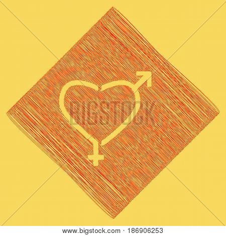 Gender signs in heart shape. Vector. Red scribble icon obtained as a result of subtraction rhomb and path. Royal yellow background.