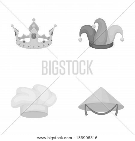 Crown, jester's cap, cook, cone. Hats set collection icons in monochrome style vector symbol stock illustration .