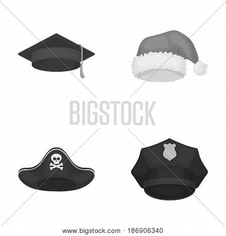 Graduate, santa, police, pirate. Hats set collection icons in monochrome style vector symbol stock illustration .