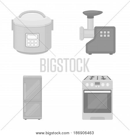 Multivarka, refrigerator, meat grinder, gas stove.Household set collection icons in monochrome style vector symbol stock illustration .