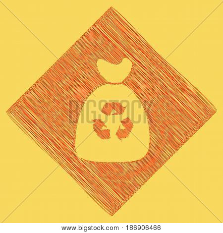Trash bag icon. Vector. Red scribble icon obtained as a result of subtraction rhomb and path. Royal yellow background.