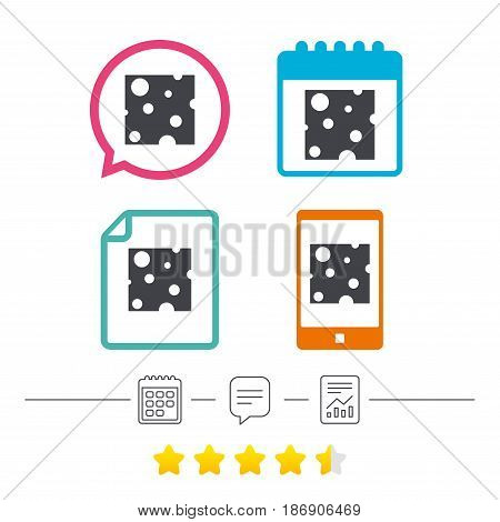 Cheese sign icon. Slice of cheese symbol. Square cheese with holes. Calendar, chat speech bubble and report linear icons. Star vote ranking. Vector