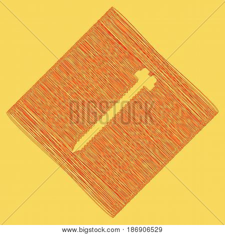 Screw sign illustration. Vector. Red scribble icon obtained as a result of subtraction rhomb and path. Royal yellow background.