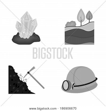 Crystals, coal seam, pickaxe, helmet with a lantern.Mine set collection icons in monochrome style vector symbol stock illustration .
