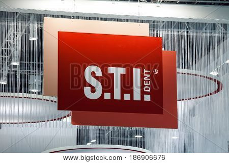 Moscow, Russia - March, 2017: STI Dent company logo sign
