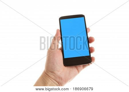 hand holding and showing smartphone with blue screen. Isolated on white background